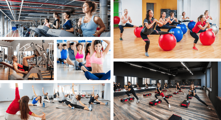 daily health hacks with workouts at the gym - collage of different fitness classes