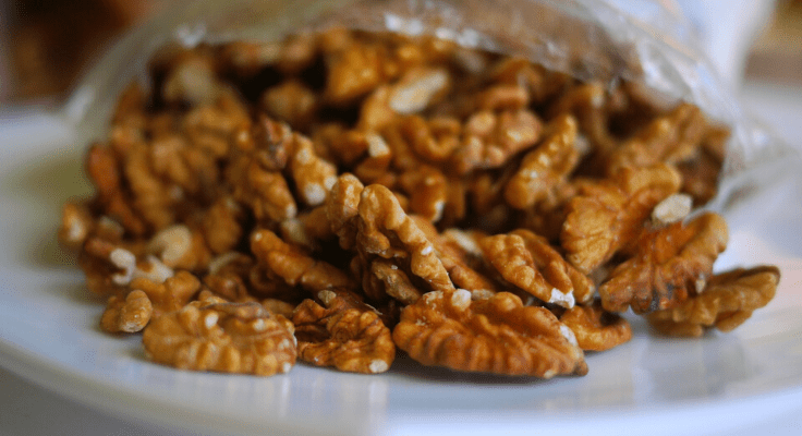 walnuts on the white plate