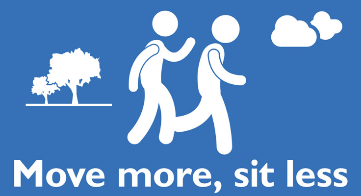 move more, sit less and two moving body icons of blue background
