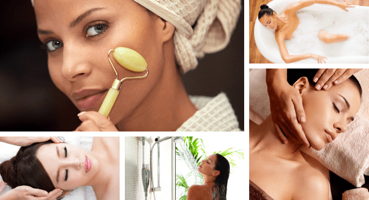 woman getting face massage and another woman massaging face with quartz roller