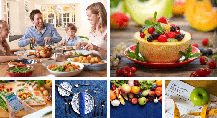 vegetables, fruits, and smiling family eating health meal