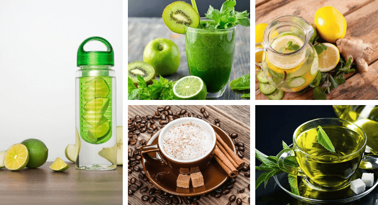 green juice with kiwi, herbal tea with mint leaf, and cappuccino with cinnamon