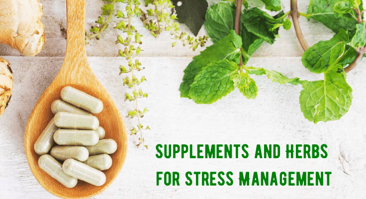 supplement capsules and green herbs for stress management