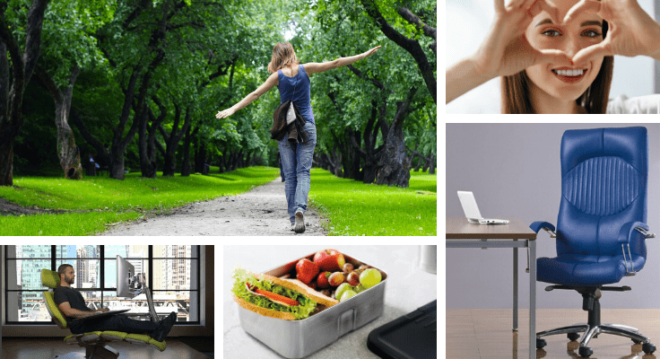 health hacks for workspace - comfortable desk and chairs, packed lunch