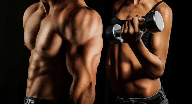 men with muscles and woman holding weight in her left hand
