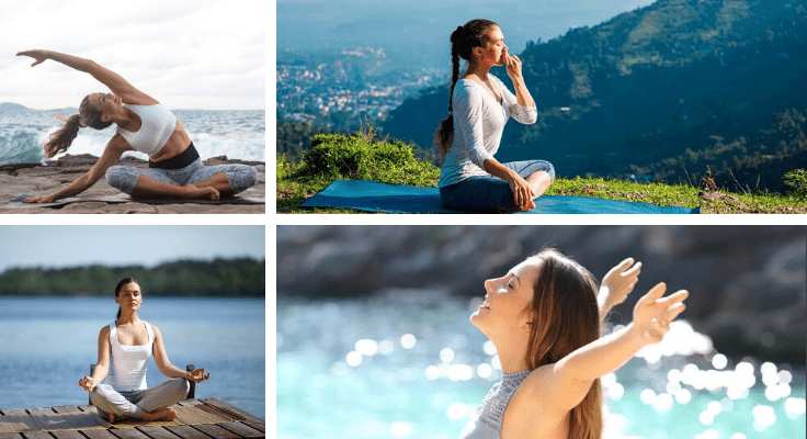 women next to the ocean relaxing and doing yoga