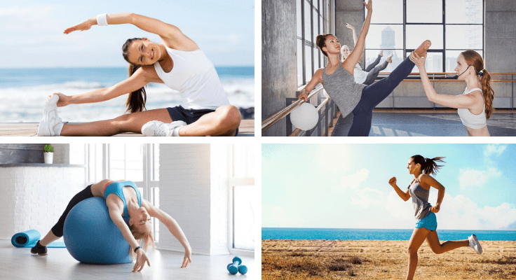women practicing yoga and ballet next to ballet barre