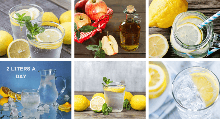 water infused with lemon, apple, and mint leafs for weight reduction