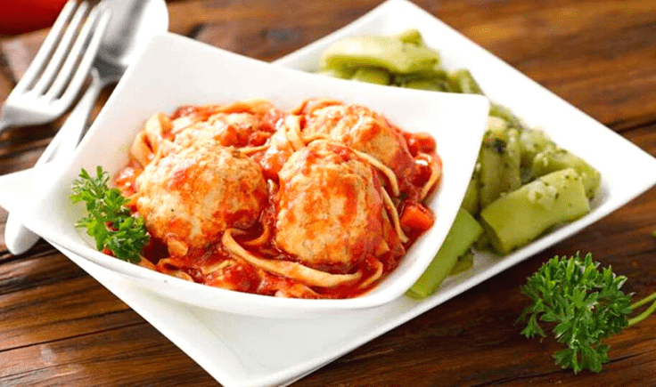 Healthy Chicken Meatballs with Marinara and Linguine