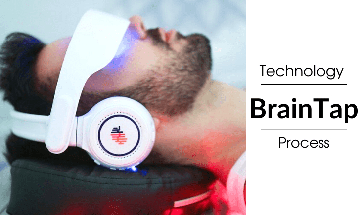 a man is lying on the bed and listening the braintap headset
