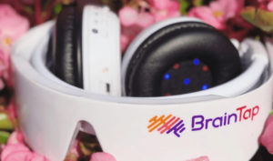 braintap headset with pink flowers