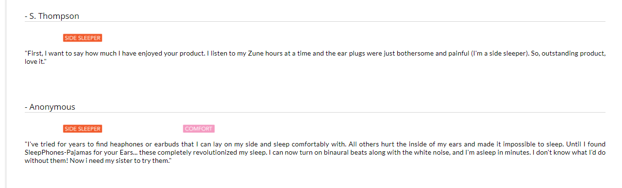 what side sleepers say about sleep phones